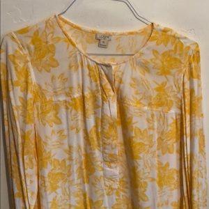 J Crew Yellow Flower Pattern Blouse
